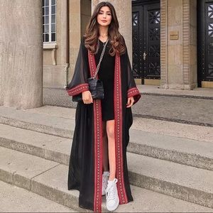 Sheer Chiffon Embroidered Long Kimono Cardigan